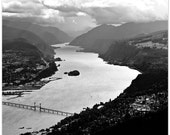 Landscape Photograph, Columbia River Gorge, Washington, river landscape, Hood River bridge, fine art print