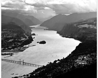 Landscape Photograph, Columbia River Gorge, Washington, river landscape, Hood River bridge, fine art print
