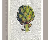 ARTICHOKE2 -  Vegetables, Kitchen decor, Botanical art, Artwork on a page from vintage Dictionary -Upcycled Book Print