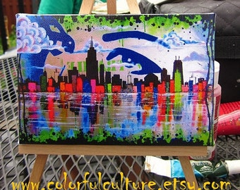 "Sin Ciudad"" Small Reproduction of Laura Gomez Art- 4X6 Mini Canvas and Easel - Chicago City- Lake Michigan- Skyline"