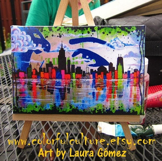 """Sin Ciudad"""" Small Reproduction of Laura Gomez Art- 4X6 Mini Canvas and Easel - Chicago City- Lake Michigan- Skyline"""