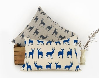 Personalized Graphic Stags Pattern Pillow Case | Pick your Ink Color - Fabric - Size 12x18 or 16x16 | Deer Decorative Pillow For Couch