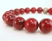 Red Stretch Bracelet Shell Christmas Holiday Jewelry Winter Berry Cranberry