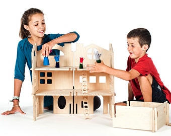 Wooden Dollhouse / Spark Creativity With Modular Wood Doll House Kit