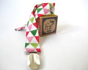 Triangles Binkie Clip - Geometric Girl Pacifier Clip - Remix Triangles by Robert Kaufman