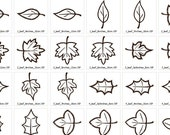 Single leaves machine embroidery applique designs, 5 types - multiple sizes 4x4,5x7 and 6x10 INSTANT DOWNLOAD