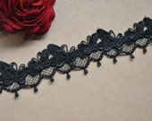Black Venice lace Trim Butterfly Lace Necklace Supplies 1.69 Inches Wide 2 Yards