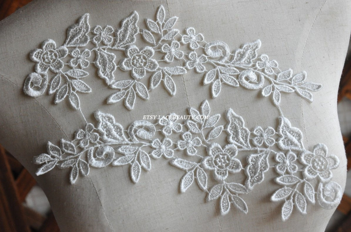 venice lace appliques ivory floral embroidered patches for. Black Bedroom Furniture Sets. Home Design Ideas