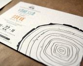 """Rustic tree timeline wedding invitation set / pine tree invitation / winter wedding / """"Tree rings"""""""