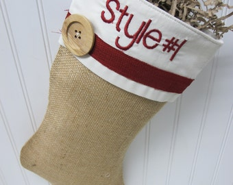Burlap stocking with embroidery - Style #1