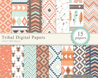 Tribal scrapbook paper 12x12,  royalty free- Instant Download