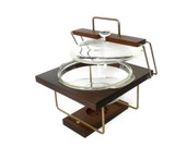 MId Century Teak Anchor Hocking Serving Stand With Glass Casserole Dish