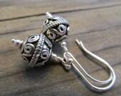 Sophisticated Boho, Genuine Bali Sterling Silver Wirework Beads Earrings