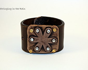 UPCYCLED LEATHER CUFF,rustic flower design, free gift box  No. 33