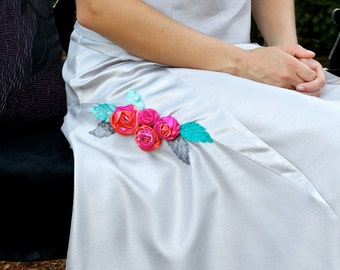 Silver grey women's skirt with satin panels and roses. Reduced price. Ready to ship size 10. REDUCED PRICE