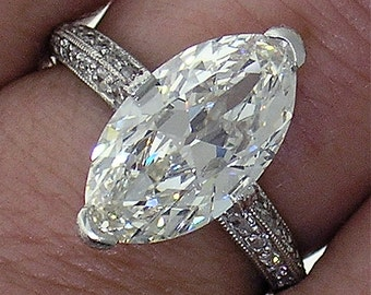 3.33ct Marquise Diamond  in a Beautiful Platinum Micro Pave Mounting
