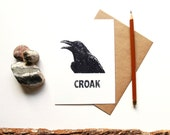 Crow Postcard - Crow Croak - Illustrated Glossy Postcard - Bird Postcard - Crow Art Print - Animal Calls - Crow Greeting Card - Crow Card