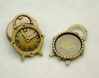 10 pcs  Antiqued Bronze  Color Metal Pendant  with 14mm Round Settings