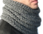 Single Loop Scarf or Cowl  -  Hand Knit - Man cowl - Neck Warmer - Snood - choose YOUR colors