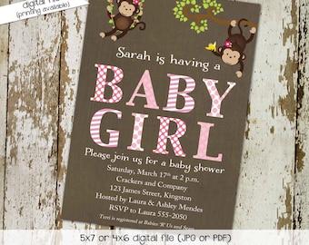 monkey baby shower invitation baby girl shower bunting banner hanging monkeys couples diaper christening (item 1349) shabby chic invitations