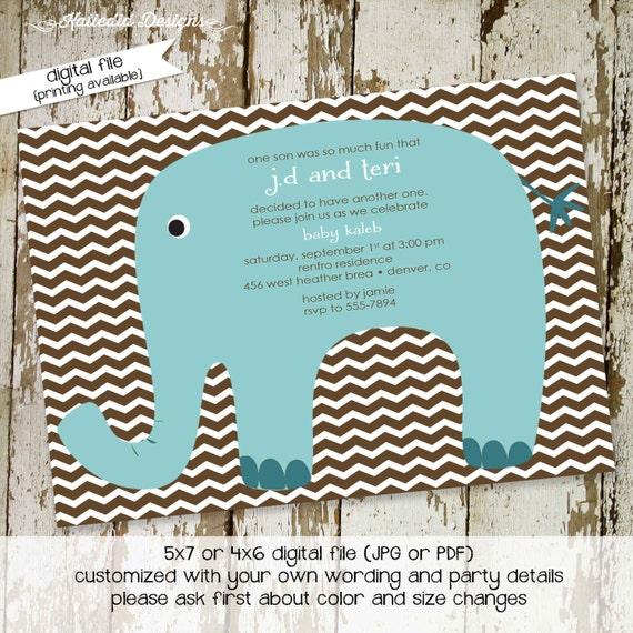 elephant baby shower invitation boy chevron couples sprinkle gender reveal neutral baptism coed diaper (item 1218) shabby chic invitations