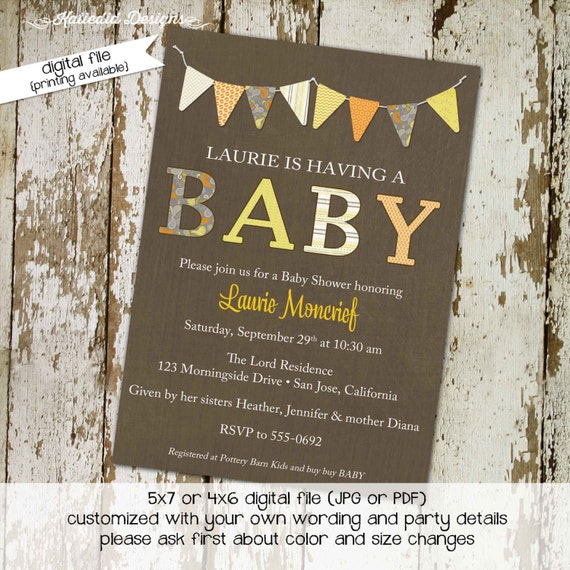Baby shower invitations, BABY with banner yellow orange and gray, digital, printable file (item 142) baby shower invite