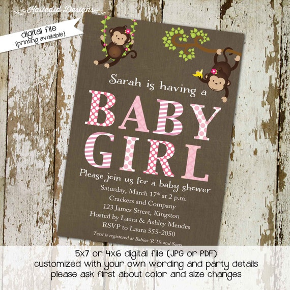 rustic baby girl shower invitation pastel pink baby shower jungle monkey safari invitation baby sprinkle invitation girl 1349 Katiedid Cards