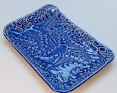 Lace Textured Blue Stoneware Jewelry or Catch-All Tray, Sushi Plate, Sponge Dish or Favorite Sandwich Plate