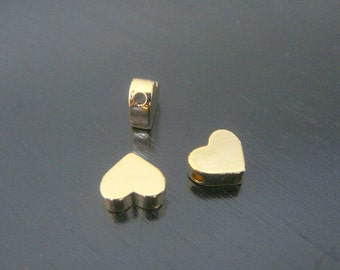 Gold Tarnish Resistant mini heart bead disk Connectors, Earring Findings, pendants, 2 pc S511075