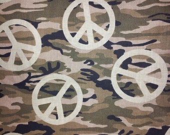 Camoflauge Peace Sign Cotton Fabric  44 inches wide