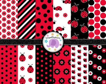 Lady Bug Digital Paper Pack - Lady Beetle Digital Paper - Digital Scrapbook Paper - Digital Background - Instant Download