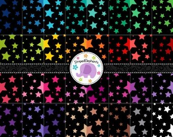 Crazy Star Digital Papers Black, Star Digital Scrapbook Paper, Star Digital Backgrounds, Instant Download, Commercial Use