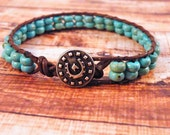 Turquoise on Brown Leather Wrap Bracelet with Silver Horse and Horseshoe Button/ Turquoise Beauty/ CowGirl  Boho Chic/ Ready to Ship
