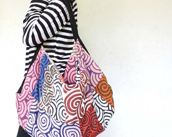 Unique design Hand  made swirl  Thai patchwork Cross body hippie  Bag