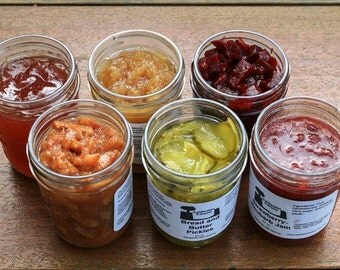 Gourmet Sampler Pack 6 8 oz Jars: Jams, Jellies, Chutneys, Preserves
