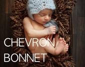 Instant Download...PATTERN Newborn-3months mohair chevron Bonnet. Crochet Chevron.