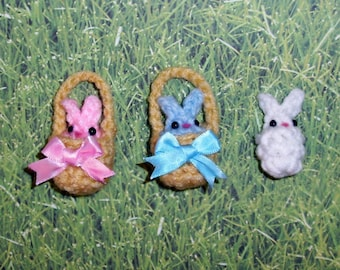 12 Tiny Custom Easter Baskets with Bunny Rabbit Plushies - choose bows or flowers - Quantity of 12, Easter Spring Bunnies Baby Shower Favors
