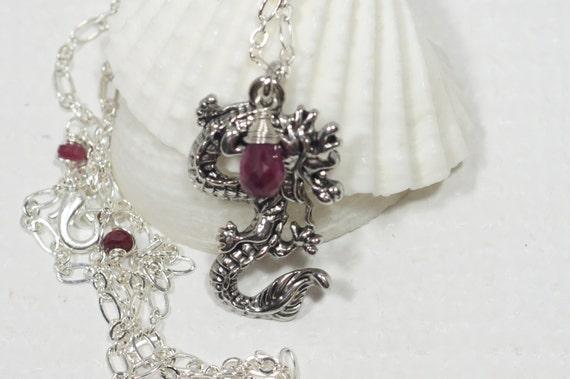 Dragon Pendant Wire Wrap Ruby Pendant Gemstone Jewelry Birthstone