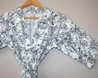 Navy Bridesmaid's Robe. Kimono Robe. Navy Dressing Gown. Spa Robe.  Knee Length. Quietude Dusk.