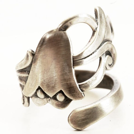 bluebell sterling silver spoon ring nouveau floral