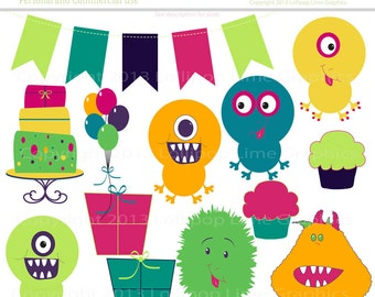 Cute Little Monster Party Digital Clipart  Monsters Balloons Cake Cupcake Bunting Banner Gift Boxes Instant Download Printable