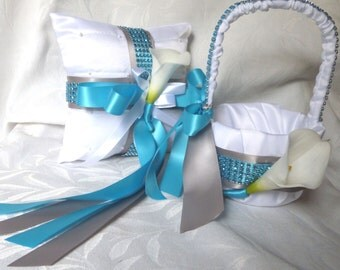 Calla lily flower girl basket ring bearer pillow set turquoise blue and silver wedding turquoise bridal accessories