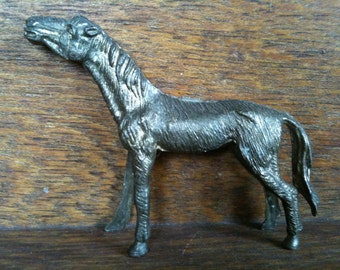 Vintage English Metal Horse Figurine Ornament Statue Gift Award circa 1950's / English Shop