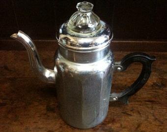 Vintage French Large Metal Coffee Pot circa 1960's / English Shop