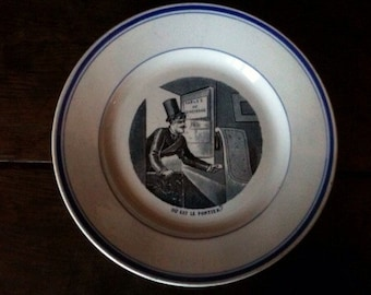 Antique French concierge top hat lunch dinner plate circa 1900's / English Shop