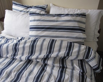 Nautical white navy blue sailor stripe King Twin XL queen size duvet cover sets pillow cover  - TEEN- Custom Bedding  for marine decoration