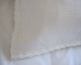 Ecru Ivory linen euro sham - chic decorative pillow bobbin lace trimmed for bedroom - 20x26 or 26x26 or 20x26