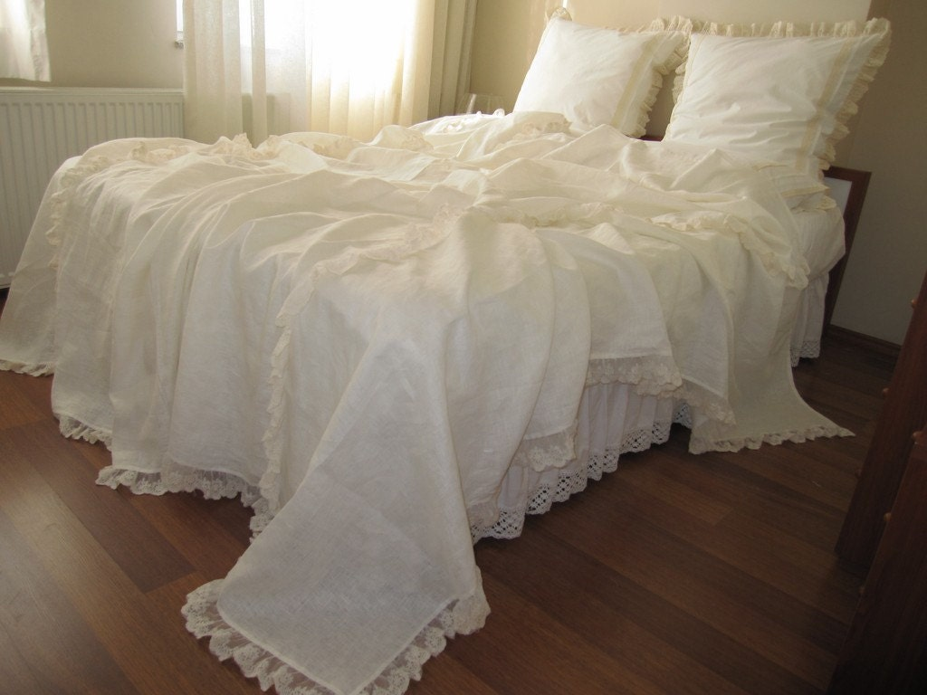 Linen Bed Cover Coverlet Solid Ivory Cream Cotton Tulle Lace