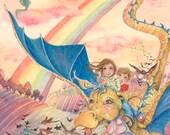 Dragon Flight - whimsical childrens fairytale dragon fantasy illustration, 8x10 or full A4 print