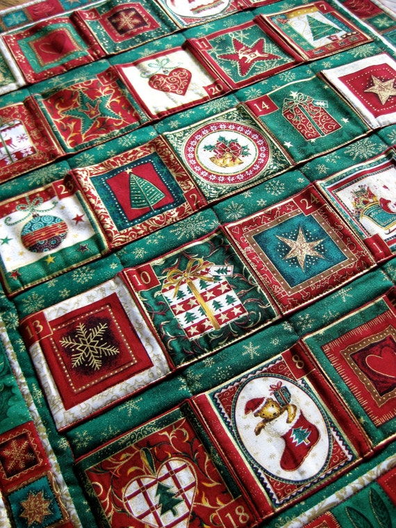Advent Calendar Quilted Wall Hanging Heirloom By Sallymanke